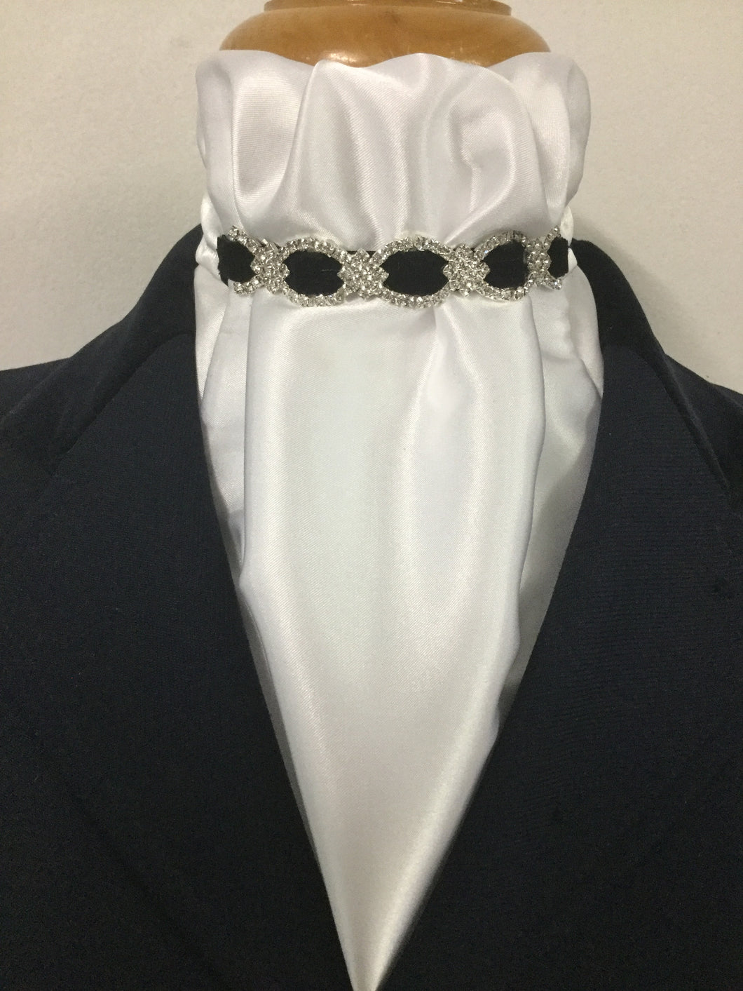 HHD White Satin Euro Stock Tie 'ALICE' Black or Navy with Rhinestones