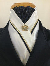 HHD White Custom Equestrian Stock Tie Navy & Gold 'Bling' Gold Stock Pin