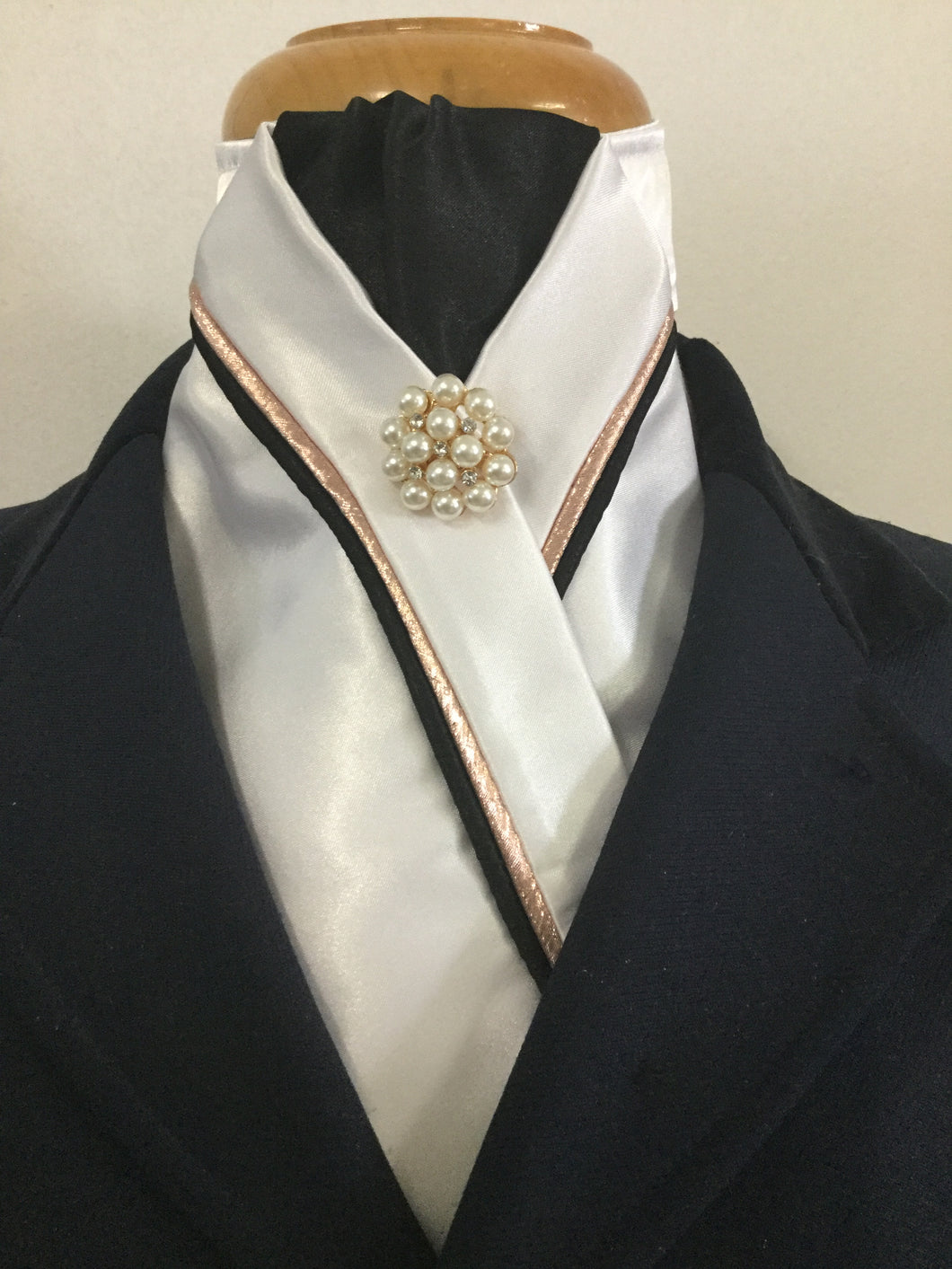 HHD Custom White Satin Rose Gold & Black or Navy Pearl Rhinestone Pin