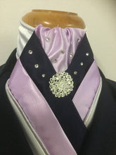 HHD 'The Royal' Equestrian Stock Tie White, Navy Blue & Lilac, Silver Piping, Swarovski Elements