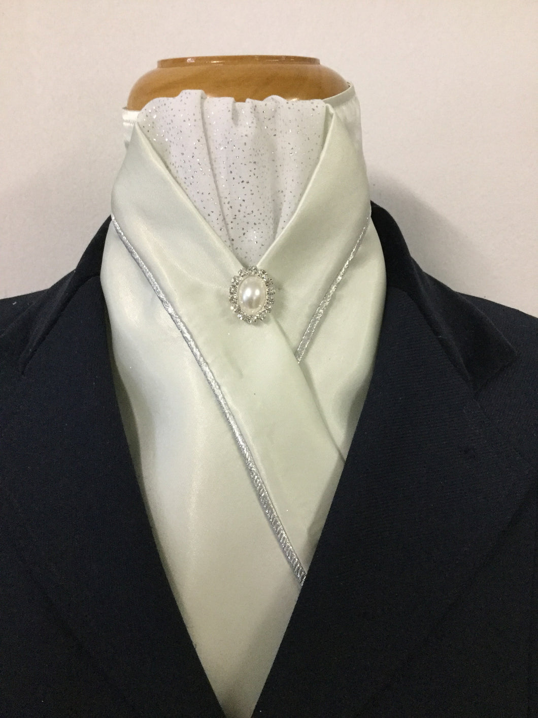 HHD Ice Green Custom Stock Tie Silver with a Pearl Rhinestone Pin