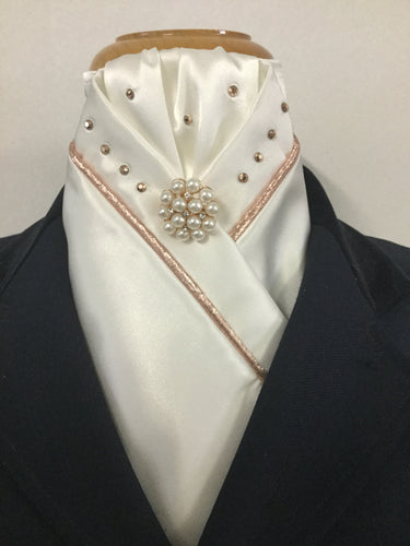 HHD White or Ivory Custom Stock Tie Rose Gold Swarovski Elements