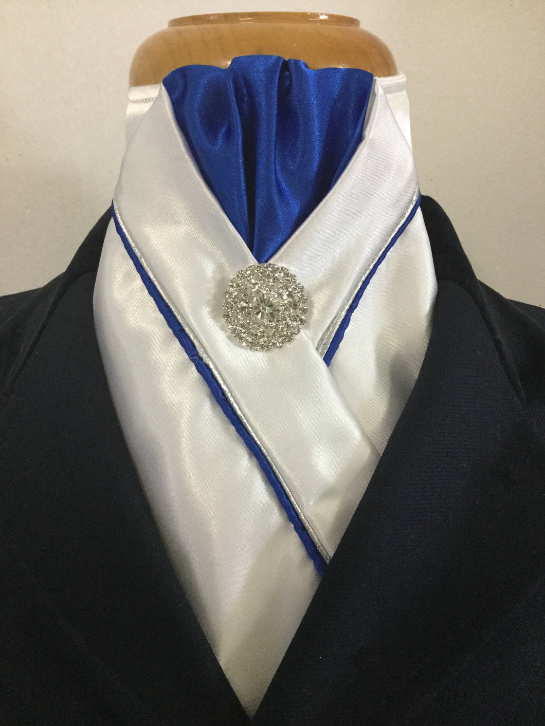 Sale - HHD White Satin Custom Stock Tie Royal Blue & Silver