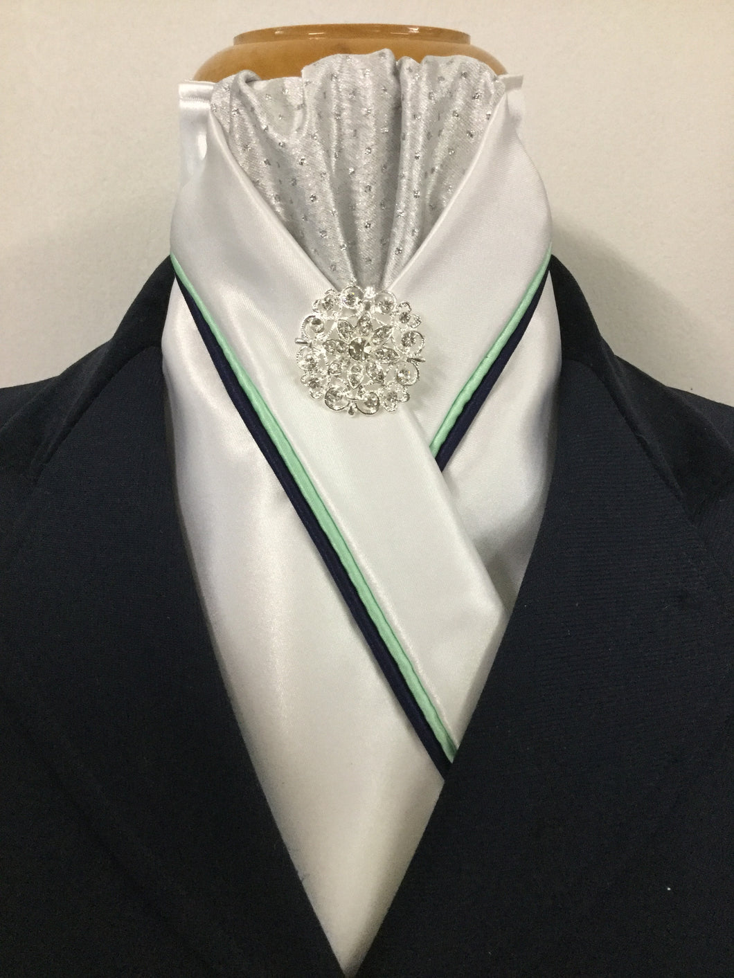 HHD White Custom Pretied Stock Tie Silver Spot Navy & Mint Green