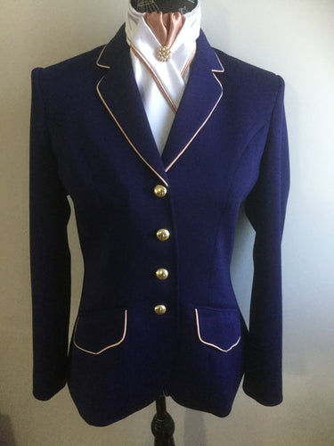 HHD Show Riding Dressage Stretch Jacket Navy Blue or Black with Rose Gold Contrast