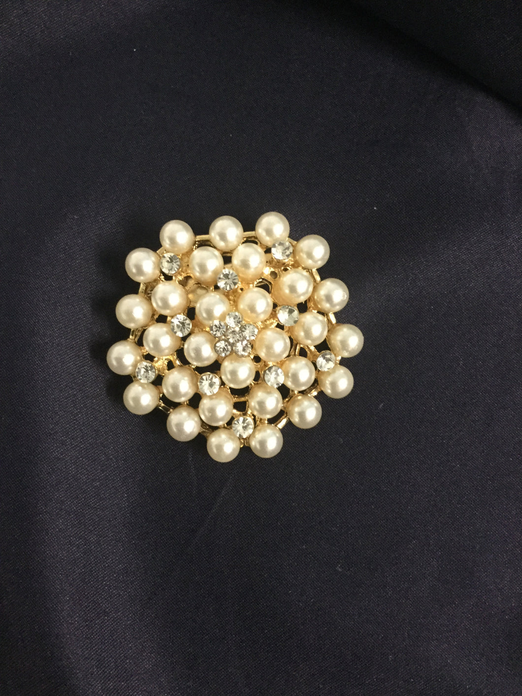 Large Stunning Gold Pearl Cluster Rhinestone Stock Pin Brooch