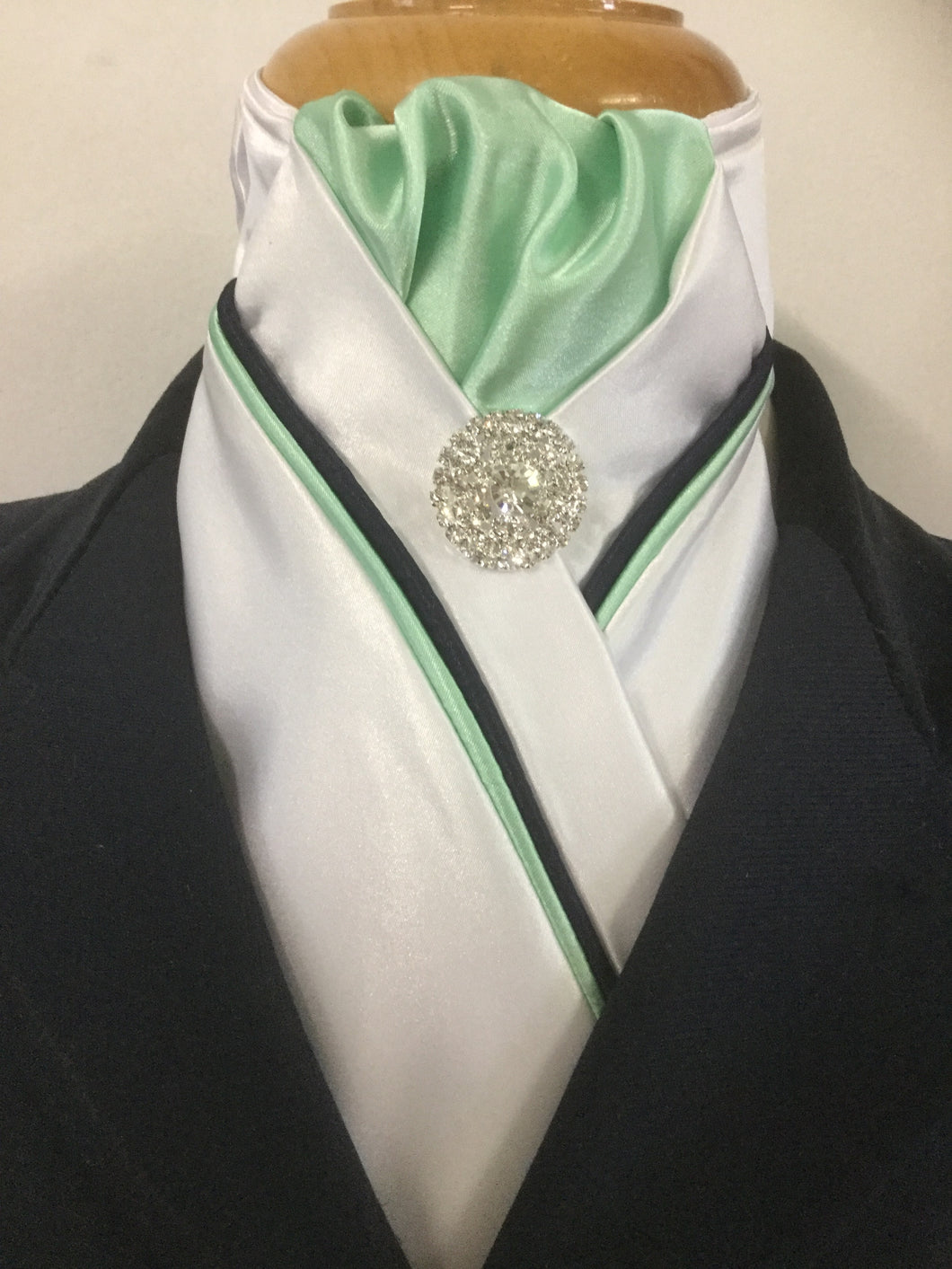 HHD White Custom Stock Tie Mint Green & Navy Available in Other Colour Options
