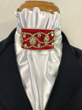 The HHD Cream or White Satin Euro Stock Tie  'Midnight' In Red & Gold