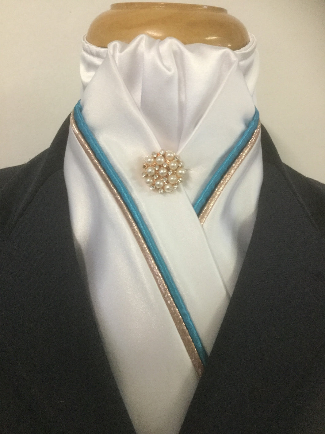 HHD White Satin Custom Stock Tie Rose Gold & Aqua Blue with a Rose Gold Rhinestone Pearl Pin