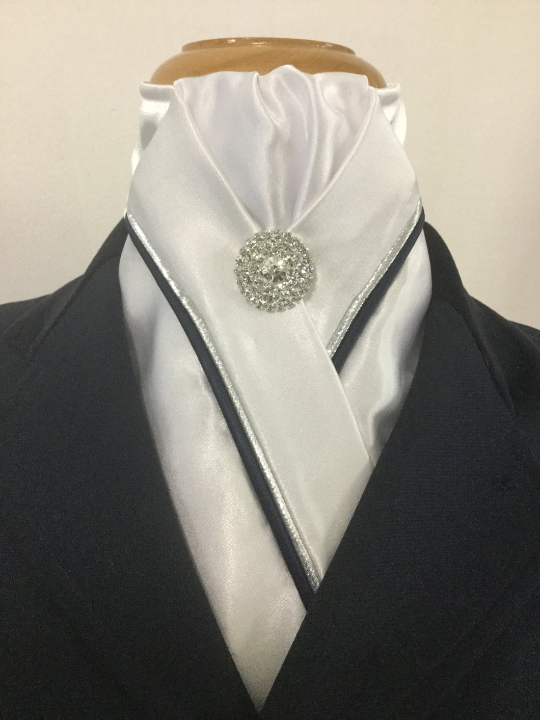 HHD Custom White Equestrian  Stock Tie with Double Piping-Available in Many Colours
