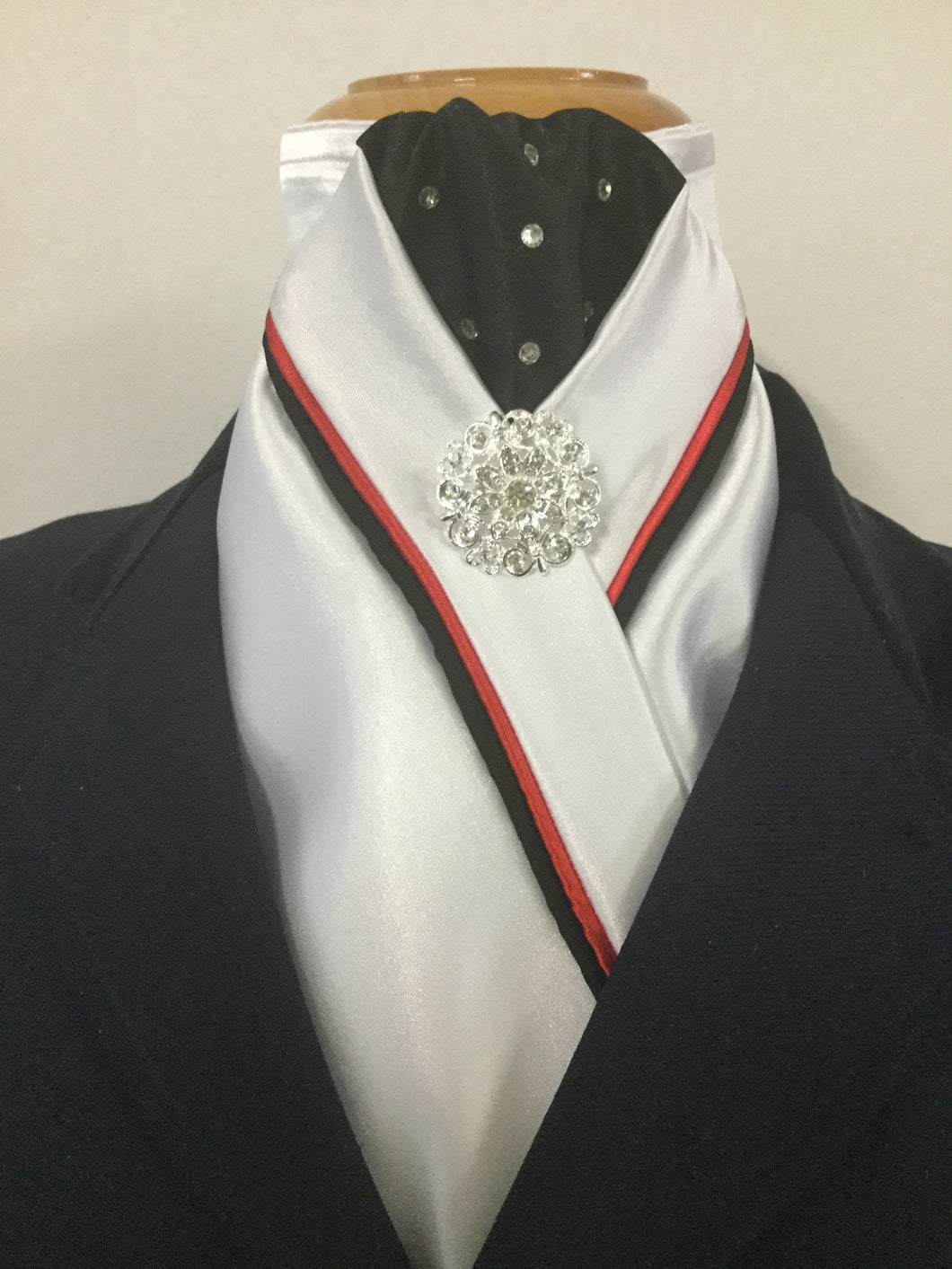HHD Custom White Stock Tie in Black & Red with Swarovski Elements