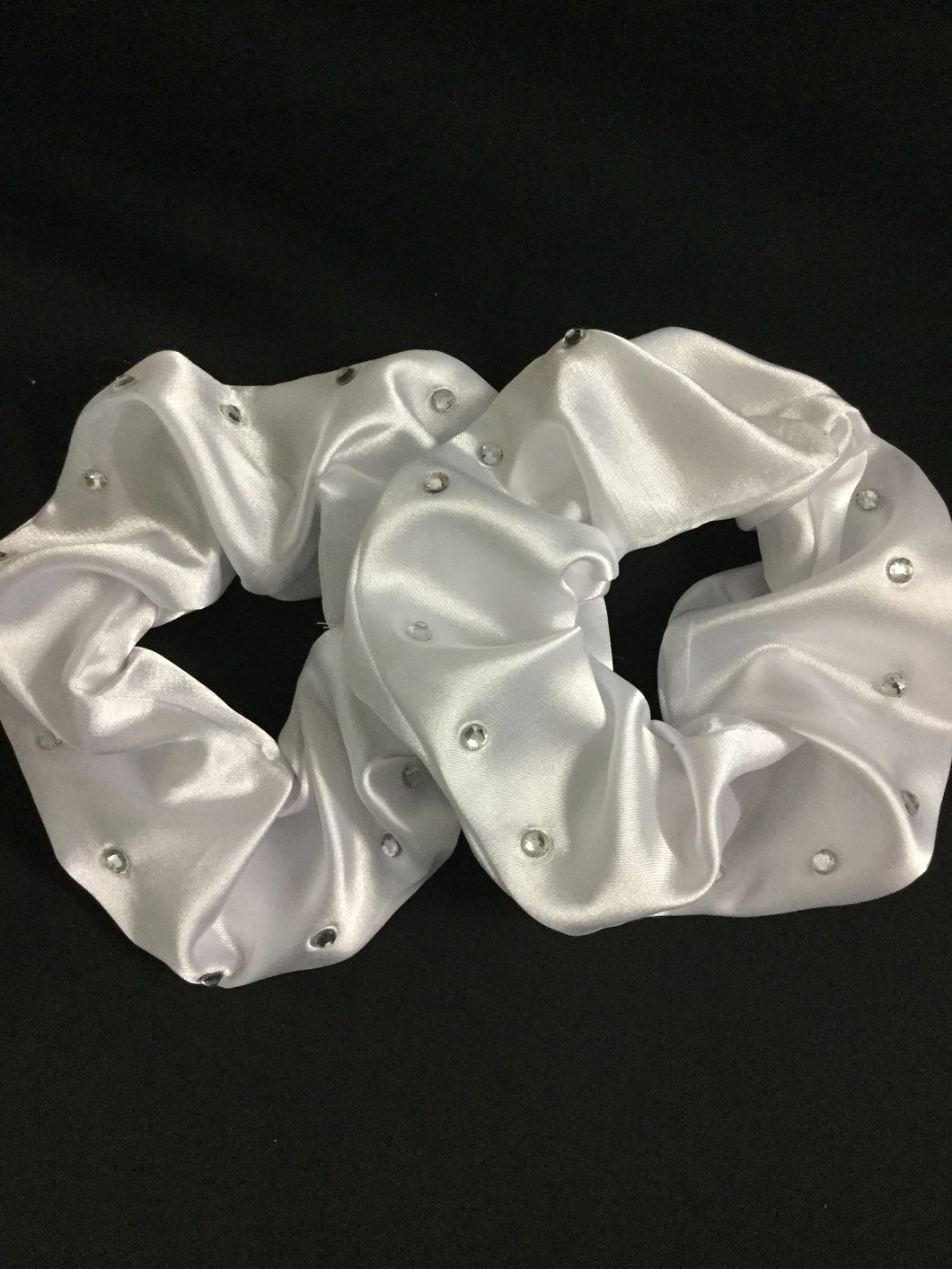 HHD 'Molly' Dressage Show Hair Scrunchie White Satin with Swarovski Elements