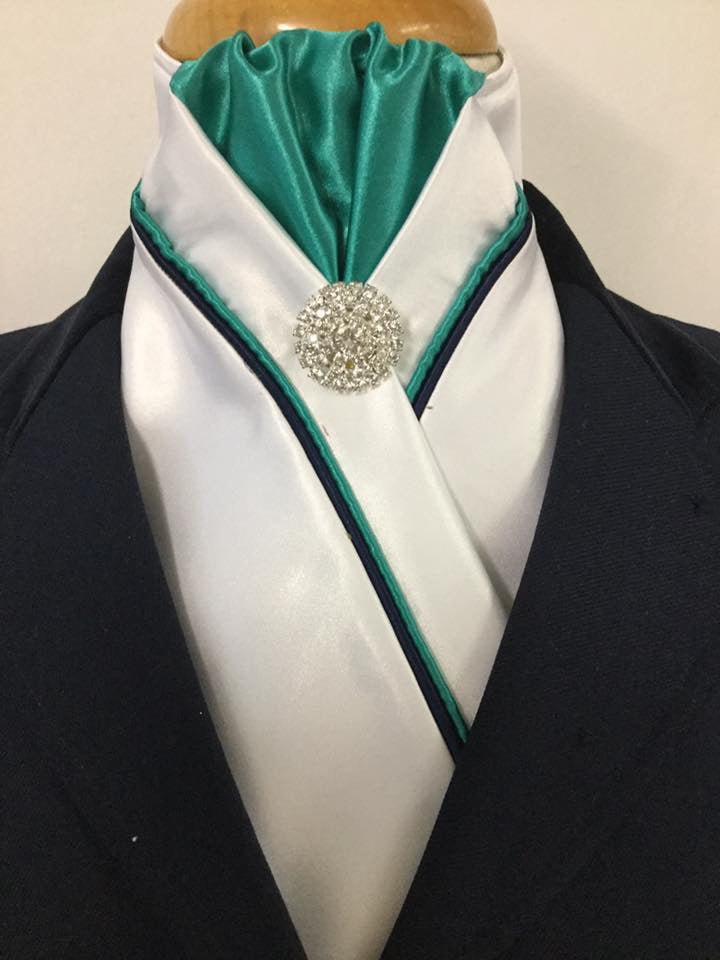 HHD White Satin Custom Pretied Stock Tie Jade Green and Navy Blue