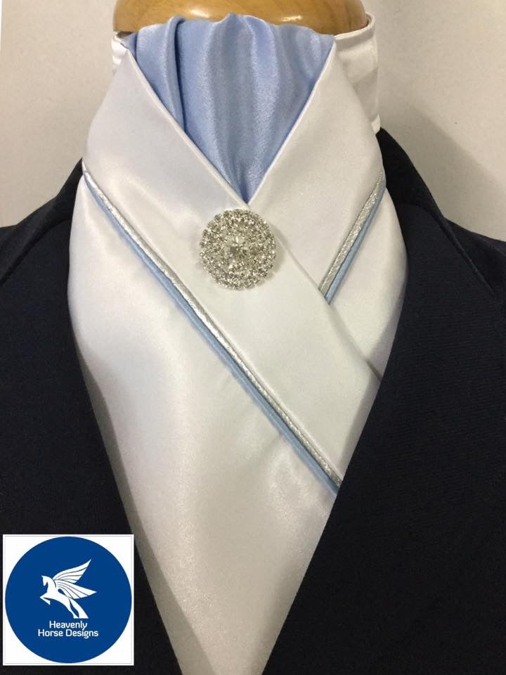 HHD White  Custom Pretied Stock Tie Light Blue