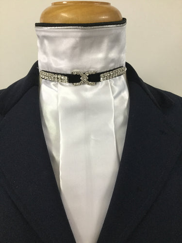 HHD The 'Christina' White Satin Pretied Euro Stock Black or Navy With Rhinestones