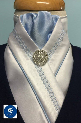 HHD White Satin Pretied Stock Tie Chain Embroidered Sky Blue