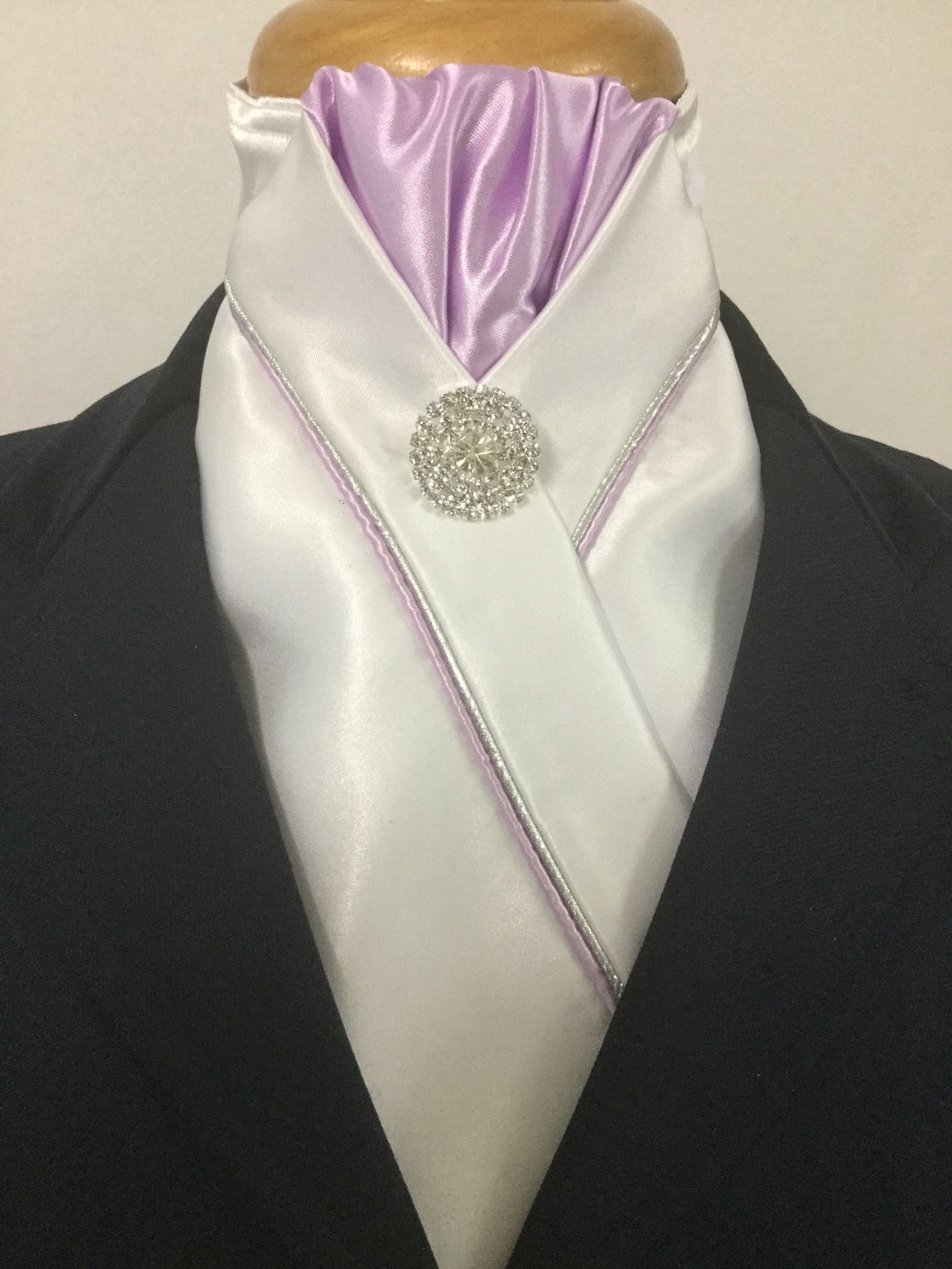 HHD White Satin Custom Pretied Stock Tie  Lilac