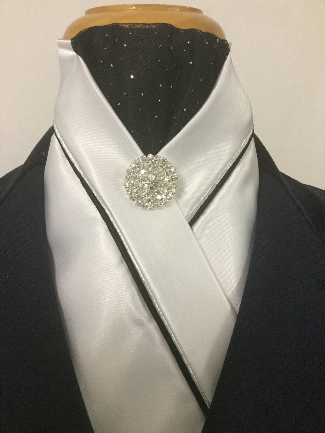 HHD Custom White Satin Pretied  Stock Tie Black & Silver Bling