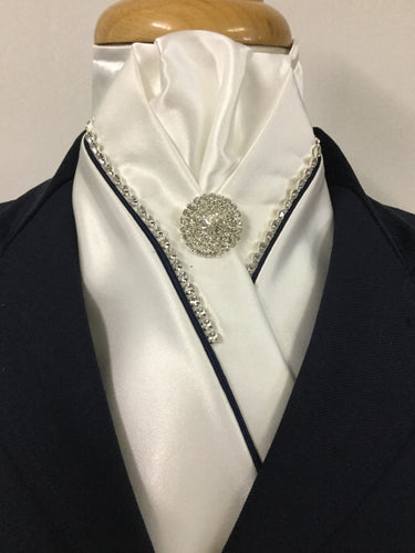 HHD White Satin Pretied Stock Tie  Rhinestones & Black Piping
