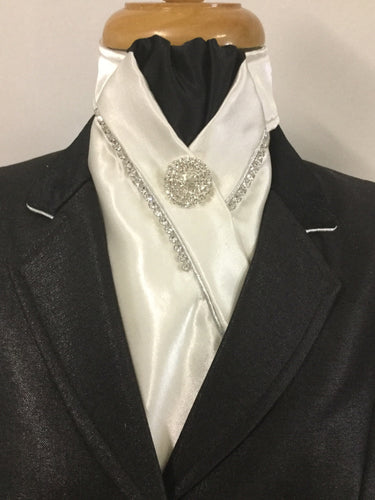 HHD Ivory Satin Rhinestone Pretied Stock Tie in Black