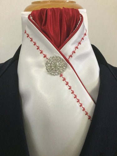 HHD White Satin Pretied Stock Tie Embroidered in Red
