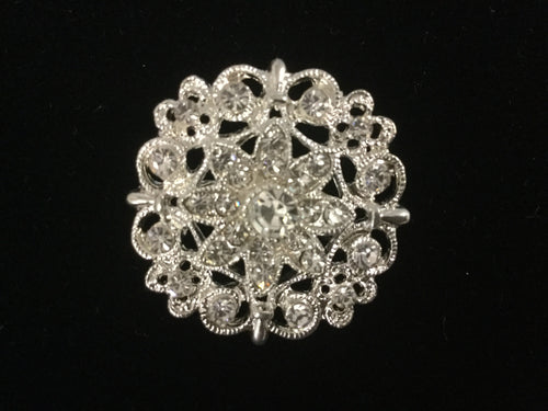 Round Silver Rhinestone Flower Stock Pin  Brooch