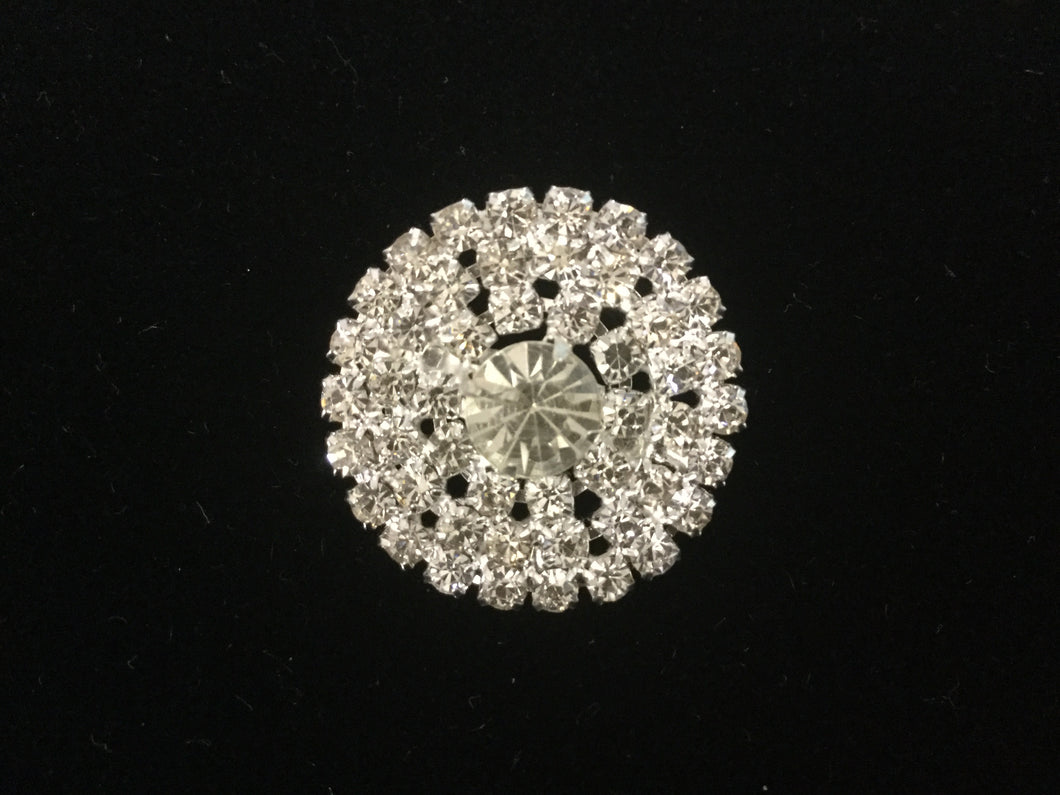 Large Round Silver Rhinestone Stock Pin Brooch