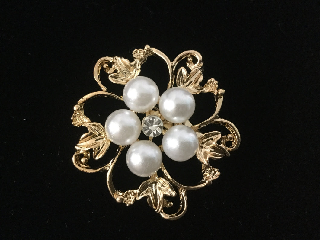 Gold Pearl Cluster Rhinestone Stock Pin Brooch