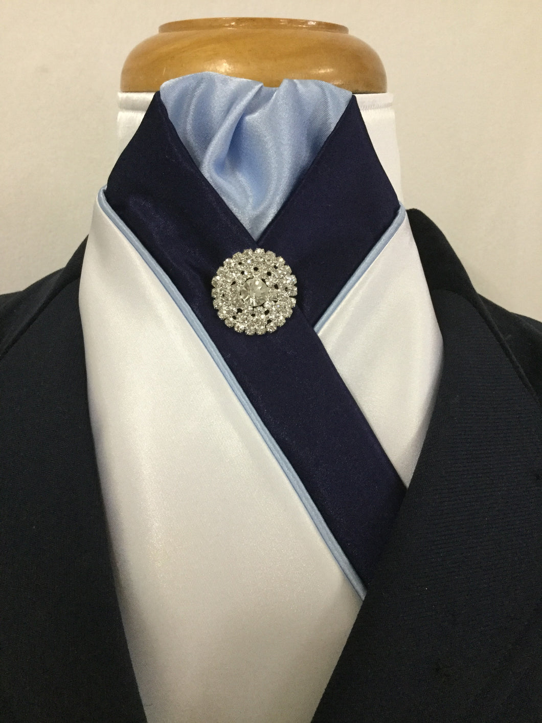 HHD White Satin Pretied Stock Tie 'The Royal' Navy & Light Blue