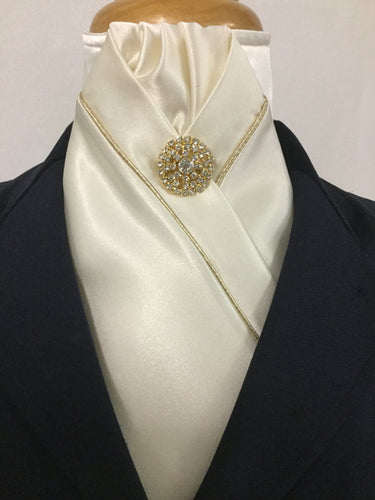 HHD Cream Satin Pretied Stock Tie with Gold