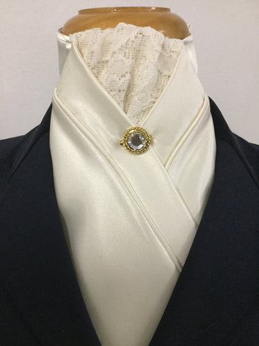 HHD Cream Satin & Vintage Lace Pretied Stock Tie