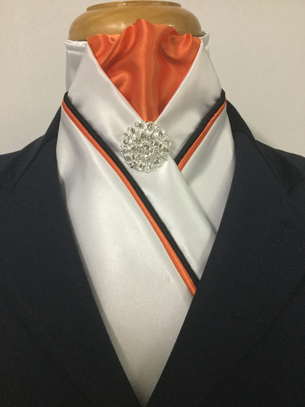 HHD White Satin Custom Pretied Stock Tie in Orange & Black