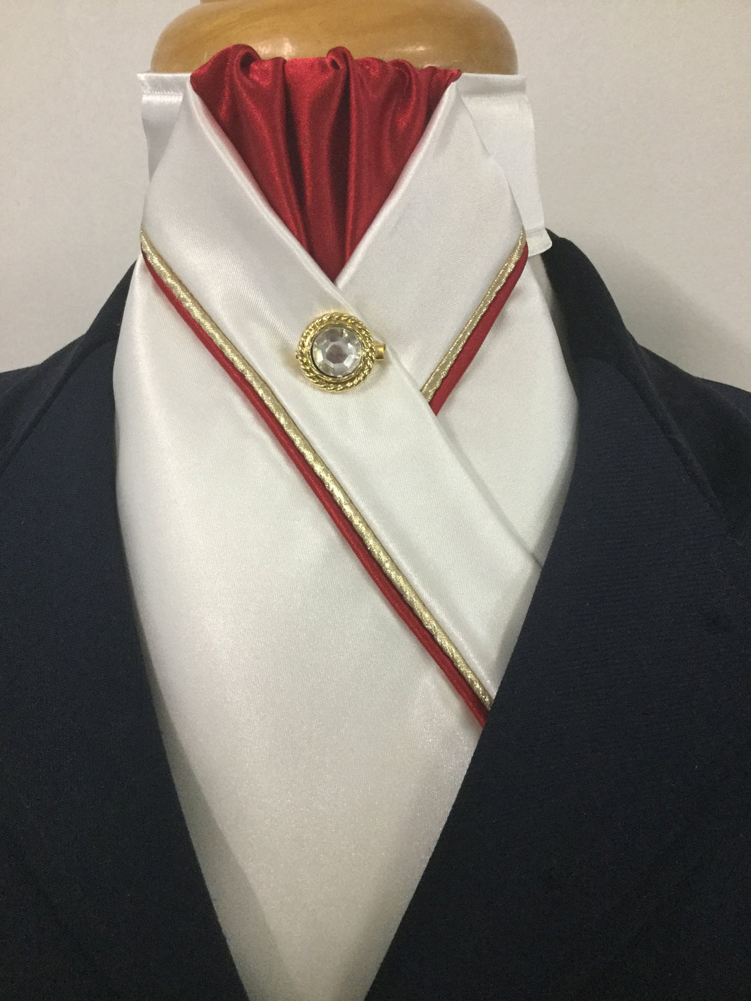 HHD Cream Satin Custom Pretied Stock Tie Red & Gold