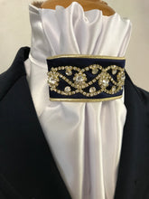 HHD White Satin Pretied Euro Stock 'Midnight' Navy & Gold