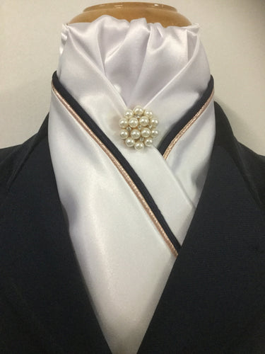 HHD Custom White or Ivory Stock Tie, Rose Gold Navy Blue or Black Piping