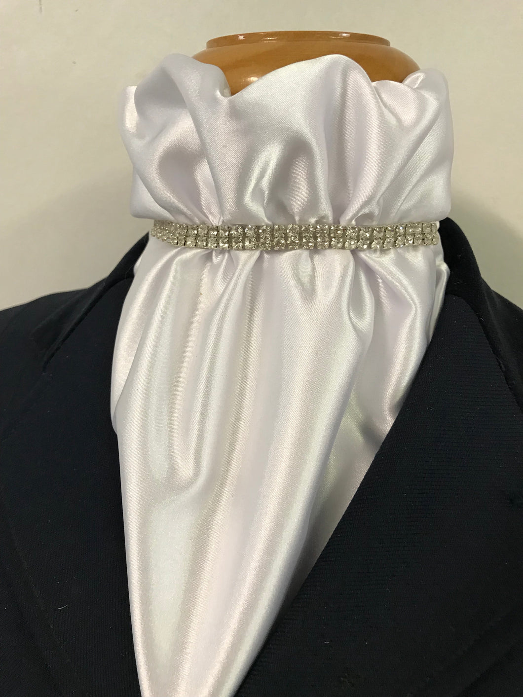 The HHD White Satin Euro Stock Tie 'Lilly' with Silver Rhinestones