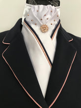 HHD Custom Satin Stock Tie Rose Gold & Navy or Black  Piping with Swarovski Elements