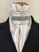 HHD White Satin Euro Stock ' Nancy' in Silver Rhinestones