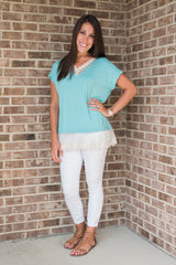 Teal, lace detail, women's top