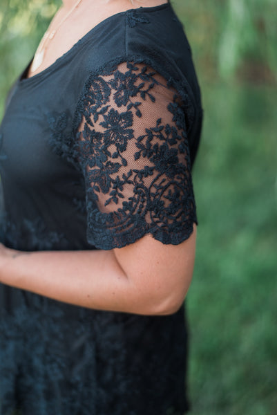 Black, lace overlay, short-sleeve detail - Addalyn top