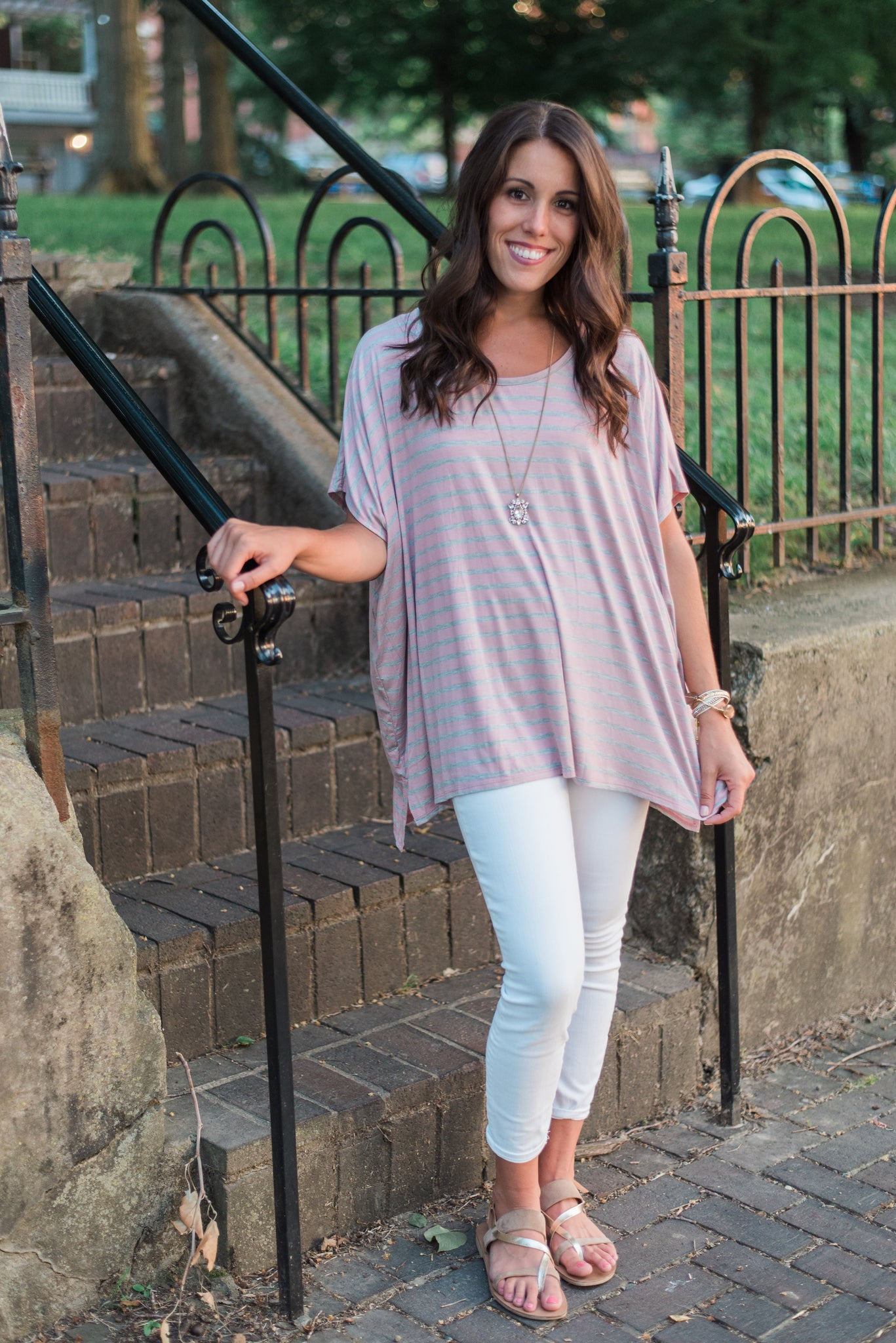 Dusty rose, striped, oversized, bamboo fabric - Allison top