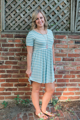 Striped, smocked, short-sleeve, sage-ivory. The Andrea Dress