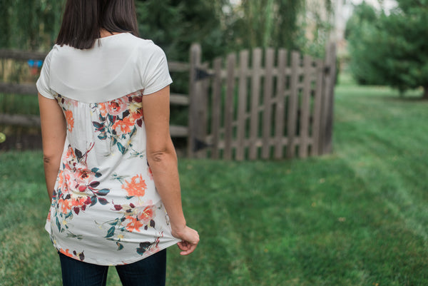 Cream, short sleeved tunic, floral back - Avery top