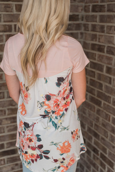 Blush, tunic top, floral back detail - Avery top