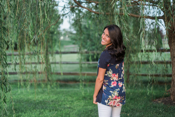 Navy, short sleeved tunic, floral back - Avery top