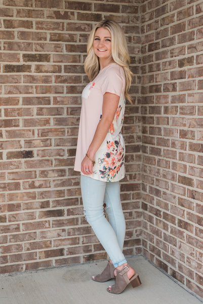 Blush, short sleeved tunic, floral back - Avery top