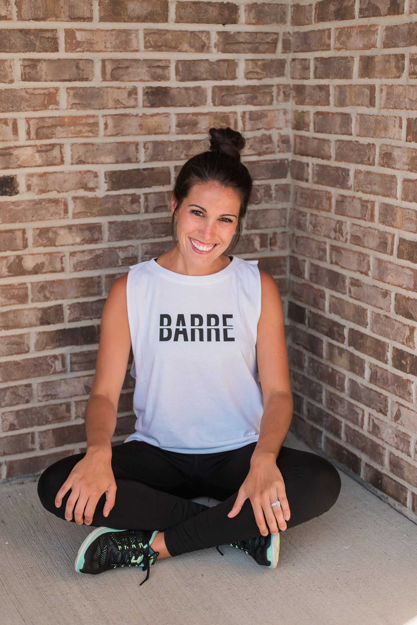 White, lightweight, dropped arm holes, athleisure wear - Barre Tee