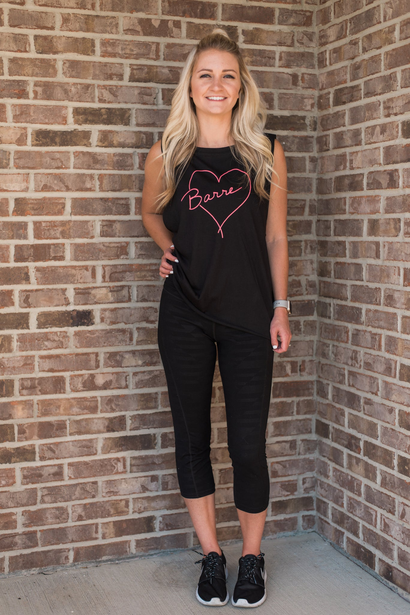 Black, lightweight, dropped arm holes, athleisure wear - Barre Love Tee