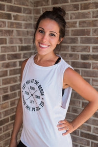 White, lightweight, dropped arm holes, athleisure wear - Barre Mantra Tee