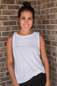 White, lightweight, dropped arm holes, athleisure wear -Be.You.Ti.Ful Tee